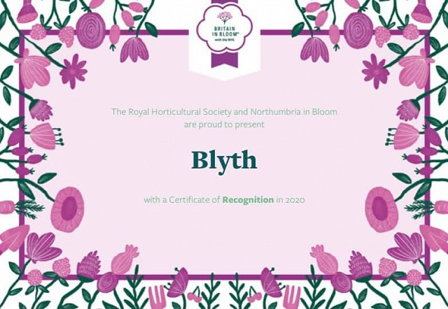 Blyth Certificate of Recognition - Northumbria in Bloom