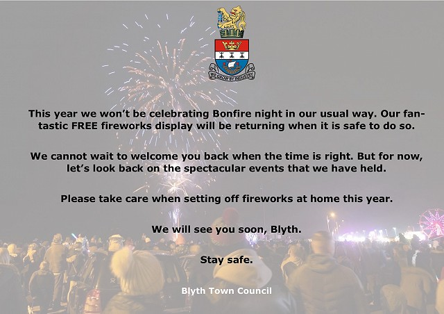 Blyth Town Council Fireworks 2020 Statement