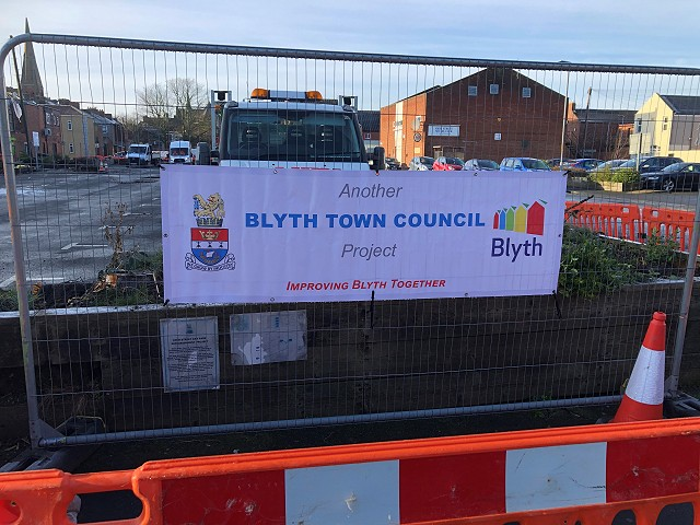 Picture showing Blyth Town Council banner