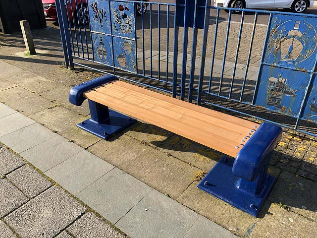 Refurbished seats on Blyth Quayside